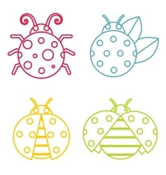 Ladybug icons in color line style on white vector