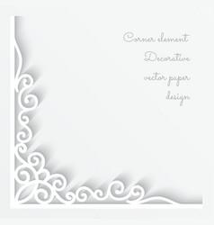 Paper corner ornament vector image vector image