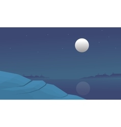 Silhouette of lake and hill at night vector image vector image