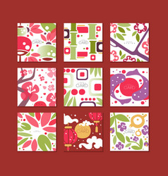 traditional asian pattern cards original design vector image