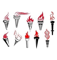 Vintage flaming torches set vector image vector image
