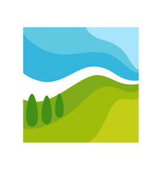 wild abstract landscape in square frame isolated vector image vector image