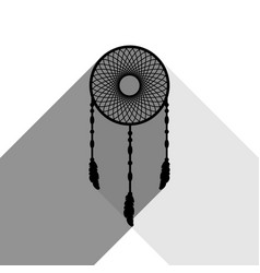 dream catcher sign black icon with two vector image vector image