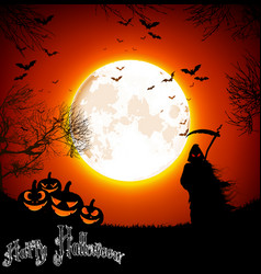 halloween background with ghost and pumpkins on th vector image vector image