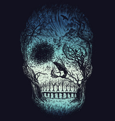 hand drawn abstract skull made from trees and foli vector image vector image