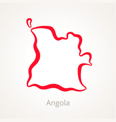 outline map of angola marked with red line vector image vector image