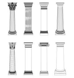 Single greek column isolated on white vector