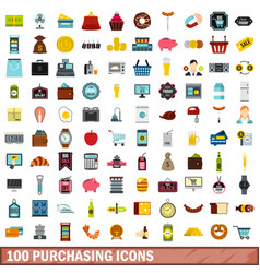 100 purchasing icons set flat style vector