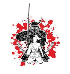 2 samurai composition with swords cartoon graphic vector