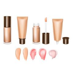 3d realistic set of lipsticks - liquid vector image
