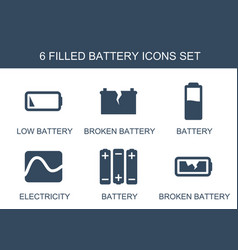 6 battery icons vector