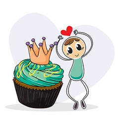 A boy dancing beside a cupcake vector image vector image