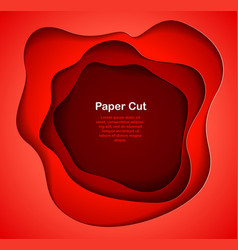 abstract red paper cutout curvy shapes layered in vector image