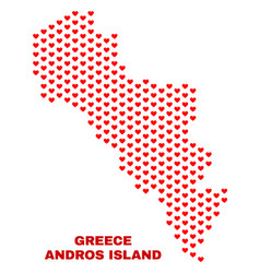 andros island of greece map - mosaic of heart vector image