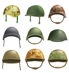 army helmet soldier mockup set realistic style vector image