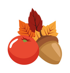Autumn nuts and acorns fruits seasonal icons vector