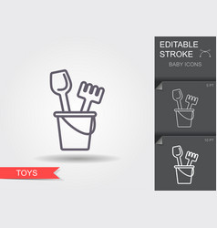 baby bucket and sand shovel toy line icon vector image