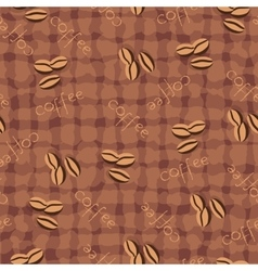 Beige seamless background coffee beans and cup vector