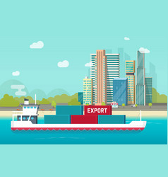 big container ship sailing in ocean or sea port vector image