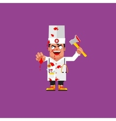Bloody medical doctor for halloween in a flat vector