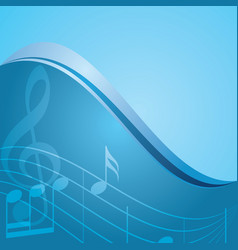 Blue background - curved music notes vector