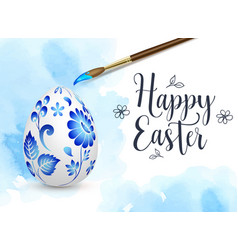 blue hand painted easter egg vector image