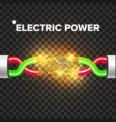 break electric cable electric arc power vector image