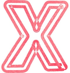 Capital letter X drawing with Red Marker vector image