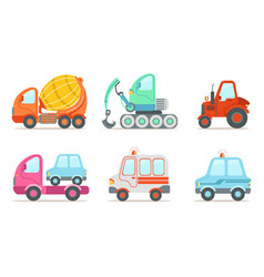 cars and construction machinery set tractor vector image