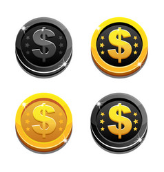 Cartoon set golden and black dollar coins vector