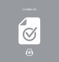Checked document - minimal icon vector