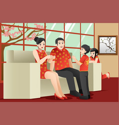 Chinese family celebrating chinese new year vector