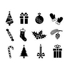 christmas black icons on white background vector image