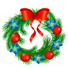 Christmas wreath decorated with a red bow with vector