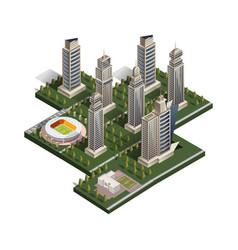 city isometric with school and stadium vector image