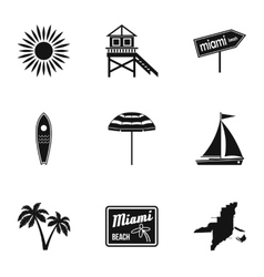 City Miami icons set simple style vector