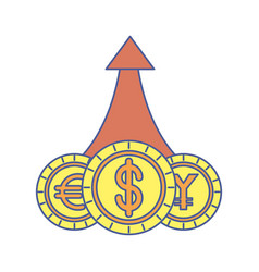 Coins money dollar with yen and euro vector