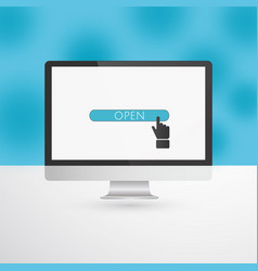 computer monitor with blue open button and hand vector image