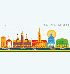 Copenhagen skyline with color landmarks and blue vector
