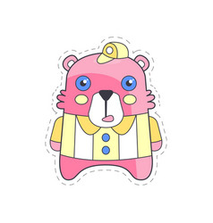 cute funny pink bear colorful cloth patch vector image