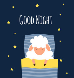 cute little sheep on the night sky good night vector image
