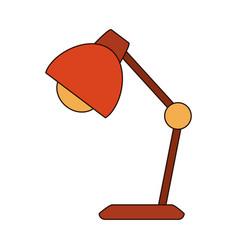 Desk lamp bulb light decoration line and fill vector