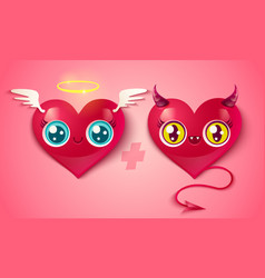 devil and angel hearts vector image