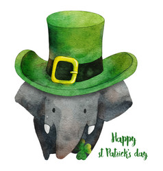Elephant with hat for st patricks daywatercolor vector