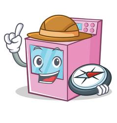 Explorer gas stove character cartoon vector
