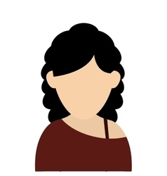 Faceless woman with curly hair portrait icon vector
