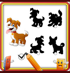find the correct shadow cartoon funny dog with op vector image