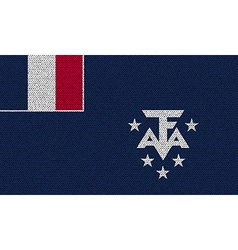 Flags of French and Antarcic on denim texture vector image