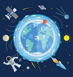 flat of planet earth and space icons astronaut vector image