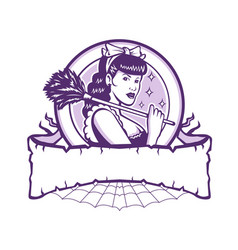 French maid female cleaner retro vector